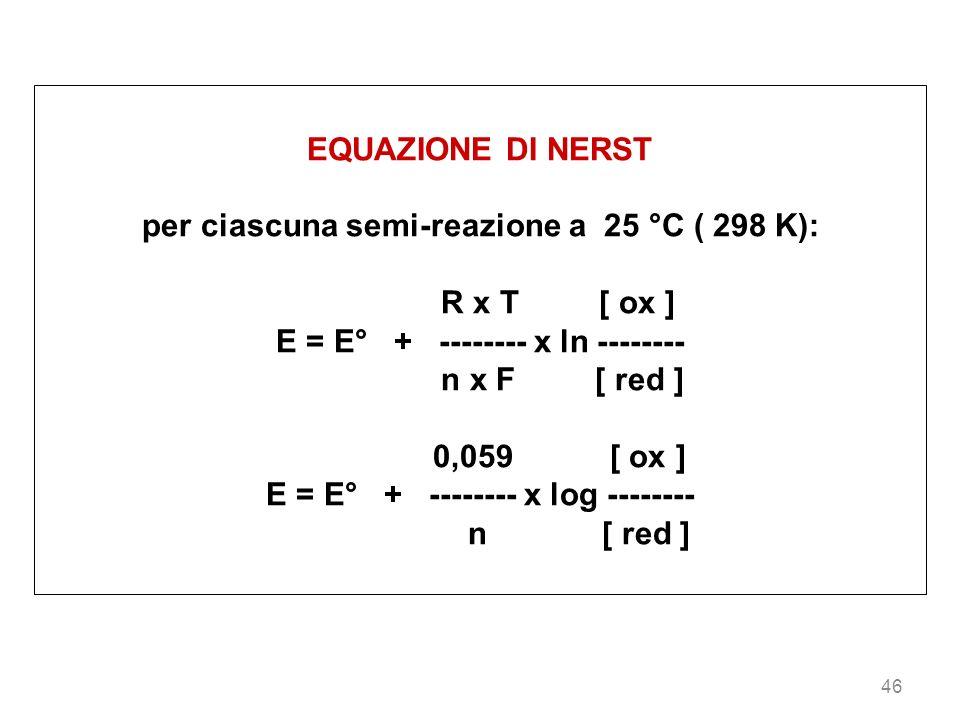 per ciascuna semi-reazione a 25 °C ( 298 K): R x T [ ox ]